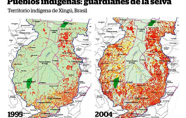El parque indígena de Xingú (delimitado en rosa) es el hogar de varias tribus. Proporciona una barrera vital contra la deforestación (en rojo) de la Amazonia brasileña. © ISA (Instituto Socioambiental)